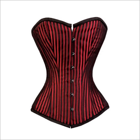 Red And Black Stripes Brocade Gothic Burlesque Corset Overbust Bustier