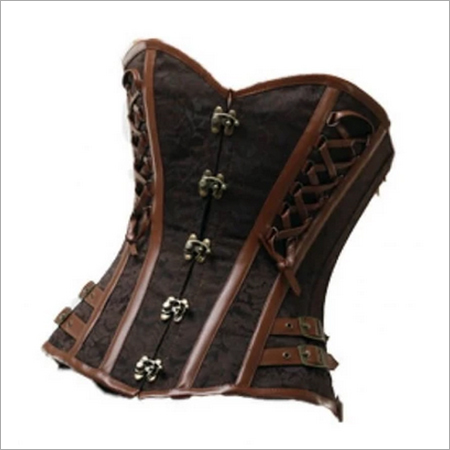 Brown Brocade Leather Straps Gothic Steampunk Bustier Waist Training Overbust Corset Top