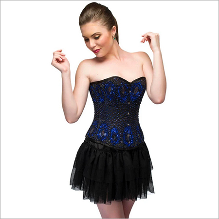 Blue Sating Black Handmade Sequins Corset Overbust Top