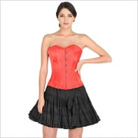 Red Sating Corset Gothic Burlesque Overbust Christmas Costume Cotton Silk Tutu Skirt Dress
