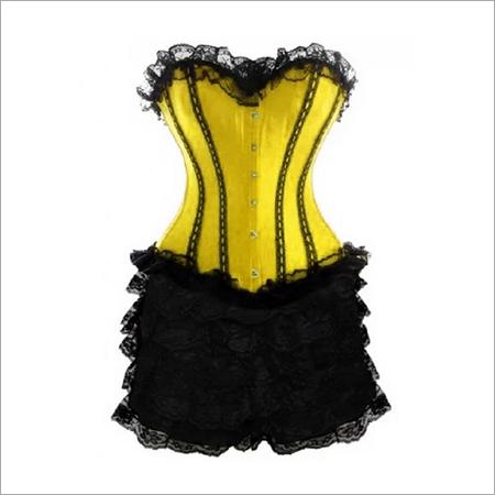 Yellow Sating Corset Black Frill Tutu Skirt Waist Training Costume Overbust Dress