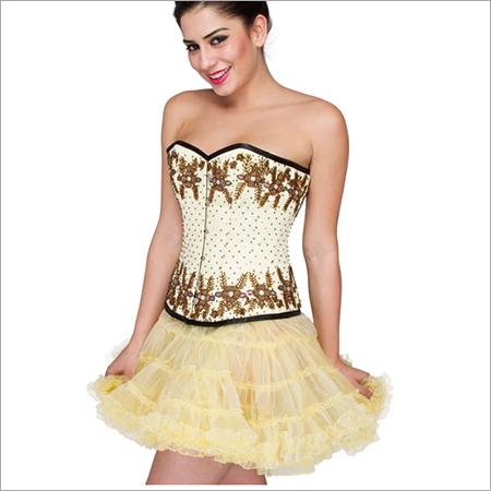 Yellow Satin Handmade Sequins Overbust Corset Dress