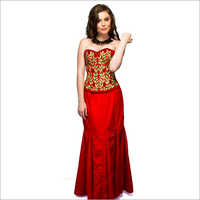 Christmas Dress Red Velvet Embroidery Corset Overbust Top