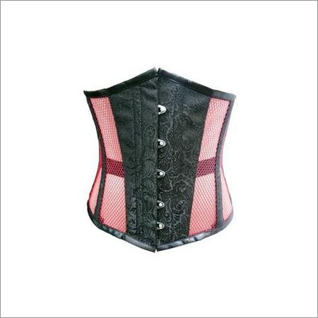Black Brocade Pink Net Underbust Plus Size Corset