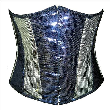 Black Silver Georgette Sequins Underbust Plus Size Corset Waist Training Bustier Top