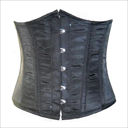 Black Poly Tapta Fabric Underbust Plus Size Corset Waist Trainer Bustier Top