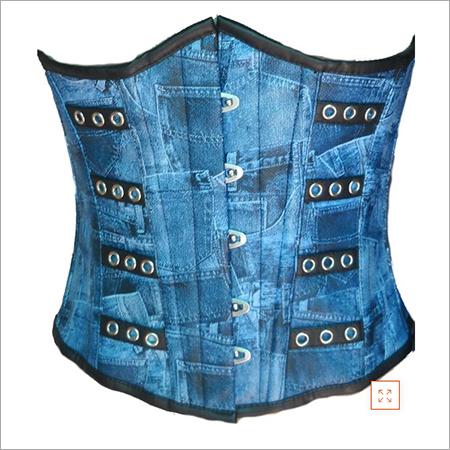 Plus Size Blue Denim Print Faux Leather Underbust Corset