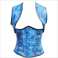 Blue Denim Print Leather Underbust Plus Size Corset Waist Training Top With Shrug