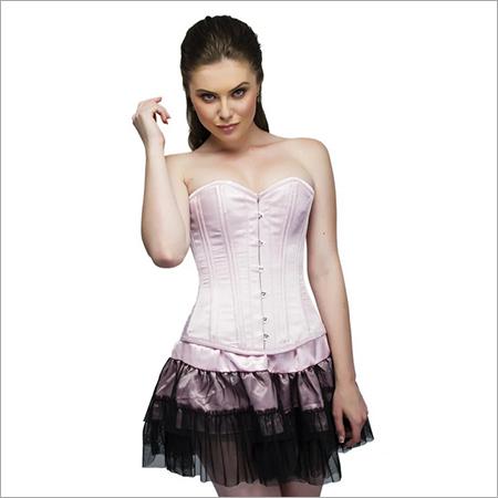 Baby Pink Satin Double Bone Overbust Plus Size Corset Top & Tutu Skirt