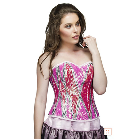Plus Size Red Pink Satin Sequins Overbust Corset Top & Black Tutu Skirt