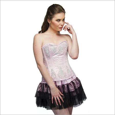 Baby Pink Sequins Overbust Plus Size Corset Top & Black Satin Net Tutu Skirt
