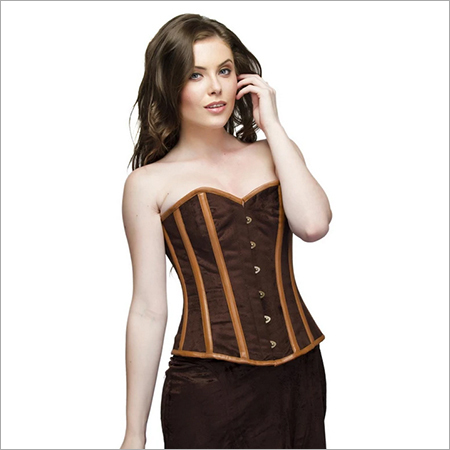 Plus Size Brown Velvet Leather Steampunk Overbust Corset Waist Training & Long Skirt