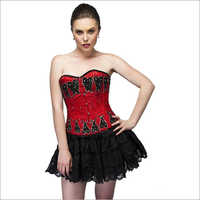 Red Black Sequins Satin Overbust Plus Size Corset Top Tutu Skirt Waist Training