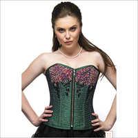 Green Silk Sequins Front Zipper Overbust Plus Size Corset & Black Tissue Tutu Skirt