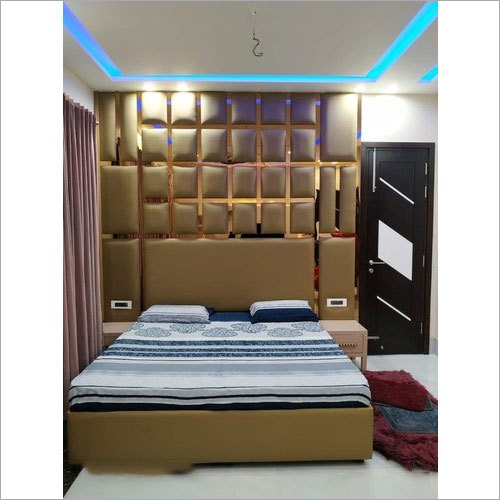 Leatherette Finish Wooden Bed