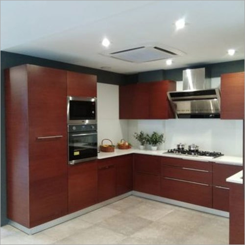 WPVC Wood U Shape Modular Kitchen