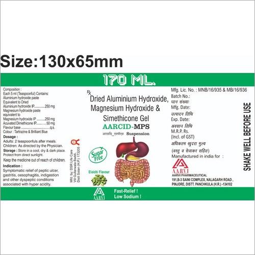 170 Ml Dried Aluminium Hydroxide Gel Magnesium Hydroxide and Simethicone Gel
