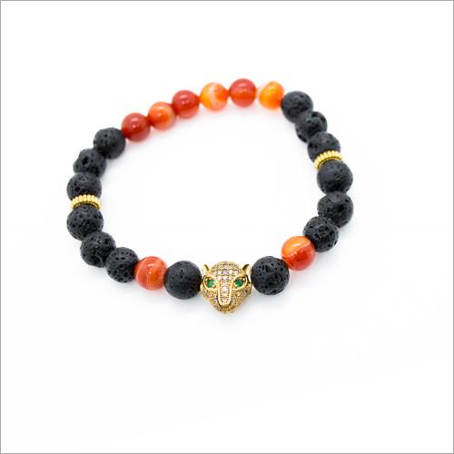 Lava & Carnilian Charms Bracelet