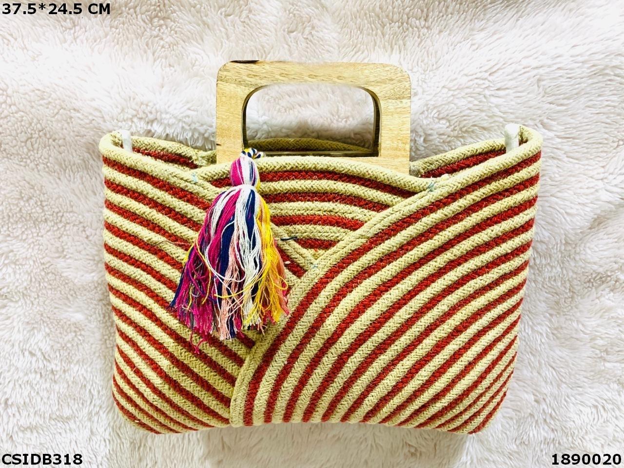 Designer Dari Cotton Handbag With Wooden Handle