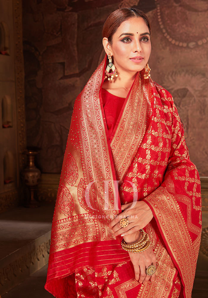 Ladies Red Blend Woven Silk Designer Bandhej Saree