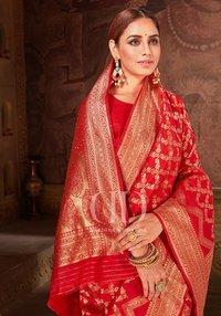 Ladies Red Blend Woven Silk Designer Bandhej Saree