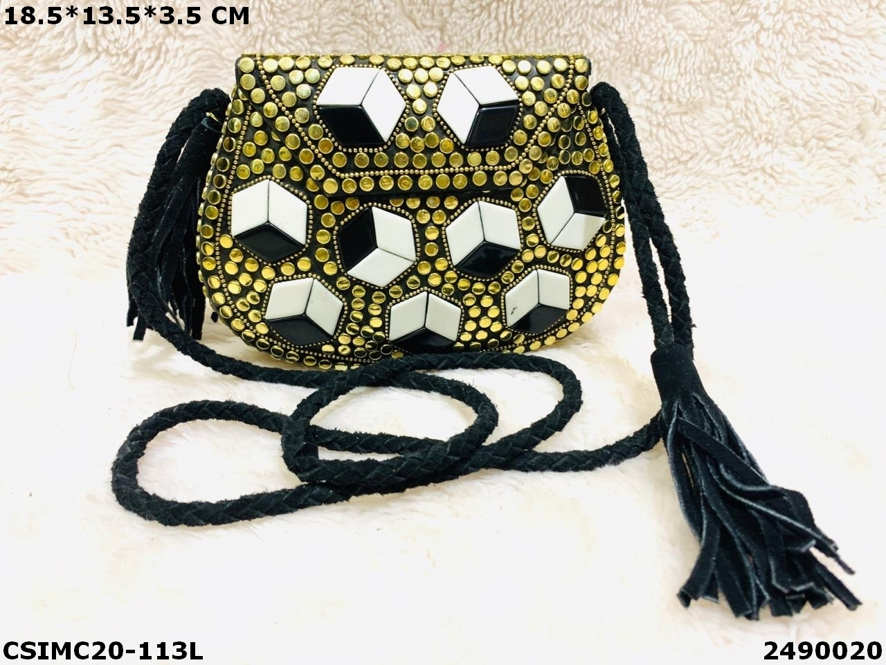 Exclusive Designer Metal Mosaic Clutches With Leather Belt