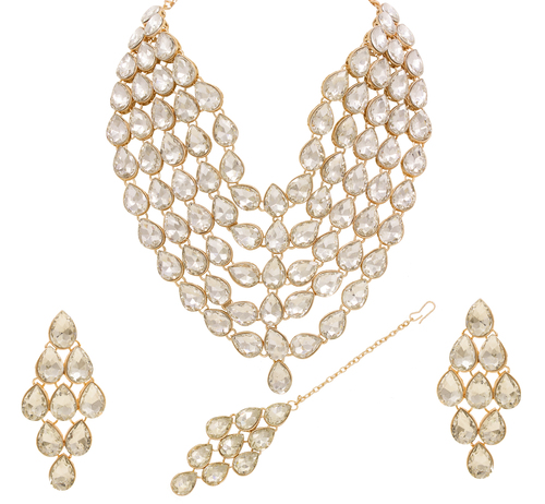 Rose Gold Plated Multi Line Necklace Set For Women & Girls