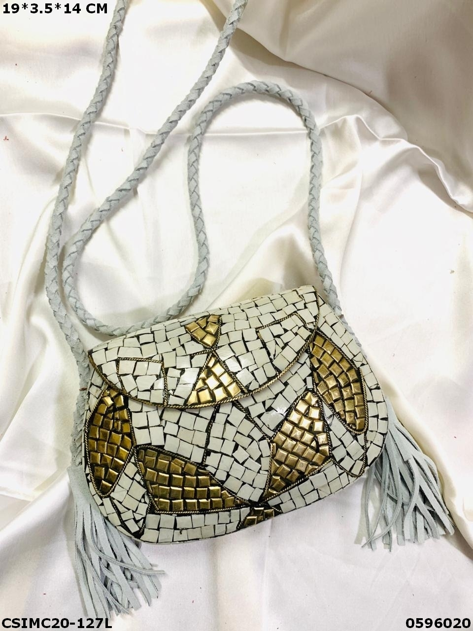 Stylish Metal Mosaic Clutches With Leather Belt