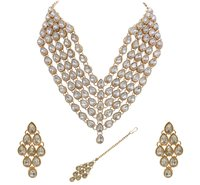 Glamorous Design  Rose Gold Plated Multi Line Necklace Set for Women & Girls