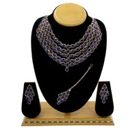 Beautiful Design  Rose Gold Plated Multi Line Necklace Set For Women & Girls