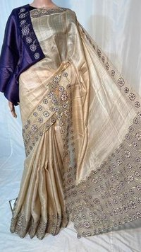 PURE GHEECHA TUSSAR SILK PLAIN SAREE .