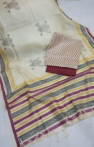 Light Beige Tussar Silk
