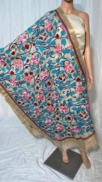 PURE KANTHA EMBROIDERED HAND MADE PURE KOSA SILK LONG DUPATTA (2.5 MTRS LONG 36