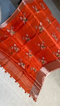 PURE LINEN BY LINEN 120 COUNT HIGH QUALITY SAREE WITH MACHINE EMBROIDERY ALL OVER .