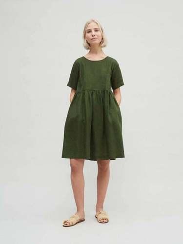 Pure Linen Tunic Frock Solid Women Linen Dress