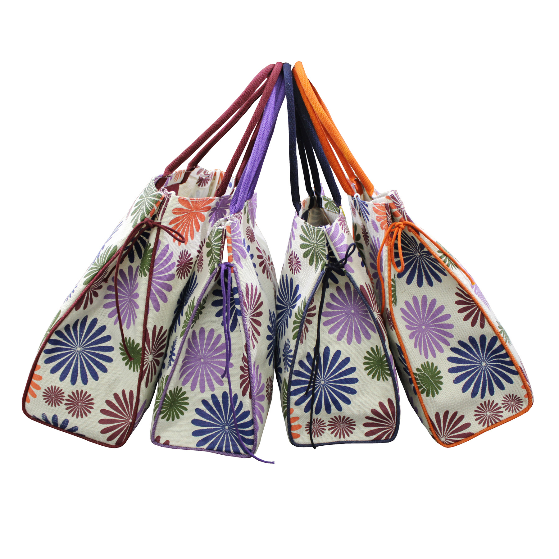 PP Laminated Jute Tote Bag With Padded Rope Handle & Inside Hanging Zip Pocket