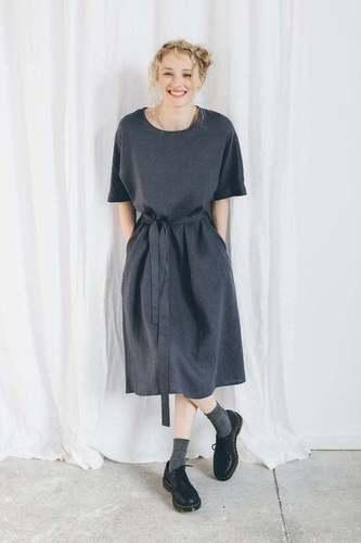 Pure Linen Solid Women Tunic Dress