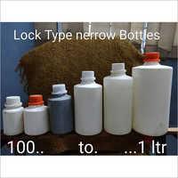 White Plastic Lock Type Narrow Bottle