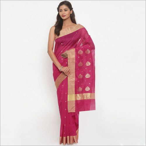 Ladies Pink Chanderi Saree