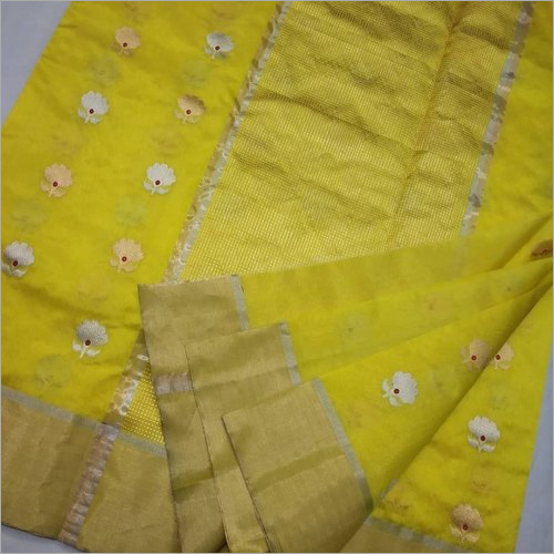 Ladies Yellow Chanderi Pattu Silk Saree