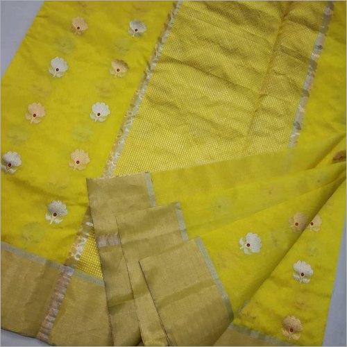 Ladies Yellow Chanderi Pattu Silk Saree