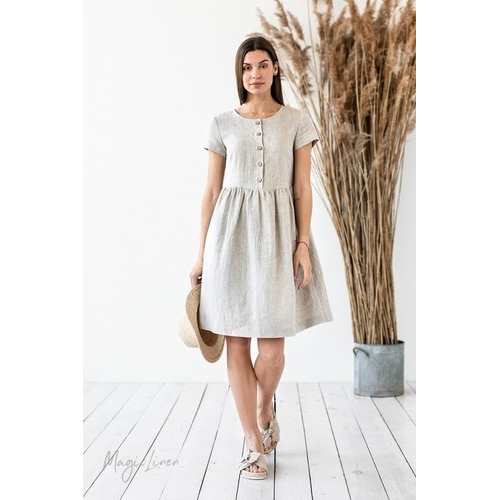 100% Linen Soft Tunic Dress All Season Comfortable Full