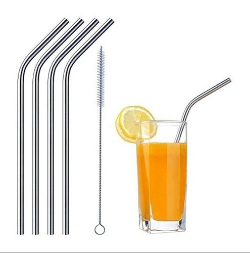 Stainless Steel Straight Straw With Cleaning Brush