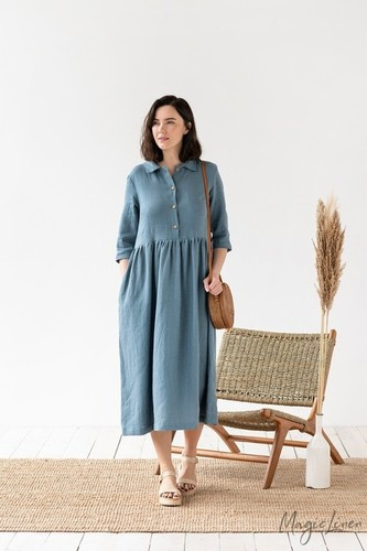 Pure Linen Tunic Dress Solid Women Linen