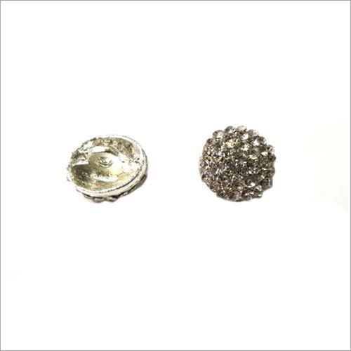 Silver Round Metal Button
