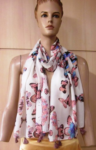 Poly Voile Paisley Printed Scarves