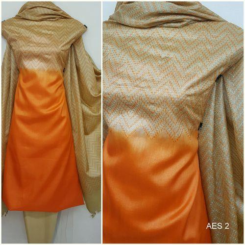 Orange And Light Beige Tussar Silk