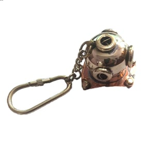 Gold Brass Nautical Helmet Key Chain