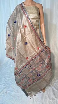 PURE TUSSAR SILK KANTHA EMBROIDERED LONG 2.5 MTRS DUPATTA , WIDTH 36