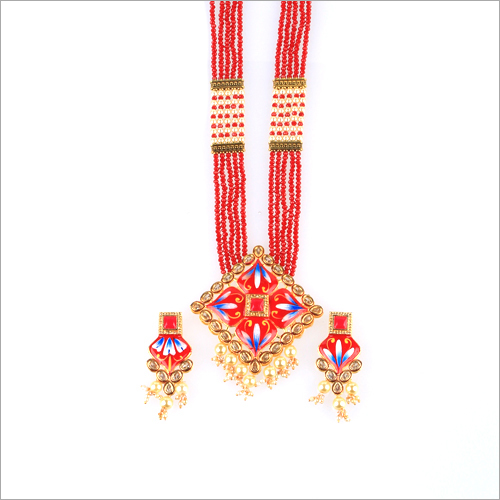 Beeds Meena Kundan Necklace Set